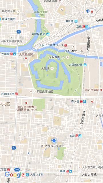 Google Maps上の真田丸跡地