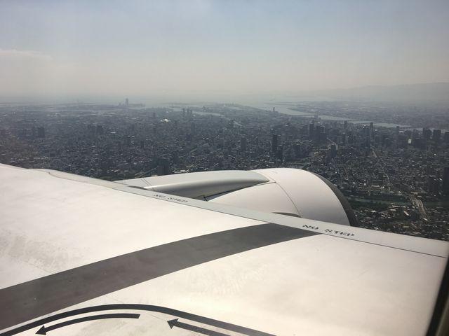 飛行機から見た大阪市街地